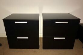 2 black/brown ash chest of drawers and 2 matching black/brown ash cabinets