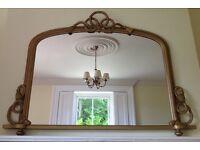 Vintage gold overmantle mirror