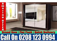 WHITE SLIDING 2 DOORS BERLIN FULL MIRROR CHEAP PRICE WARDROB Gold Hill