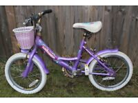 16-inch girl's bike with basket and mudguards.