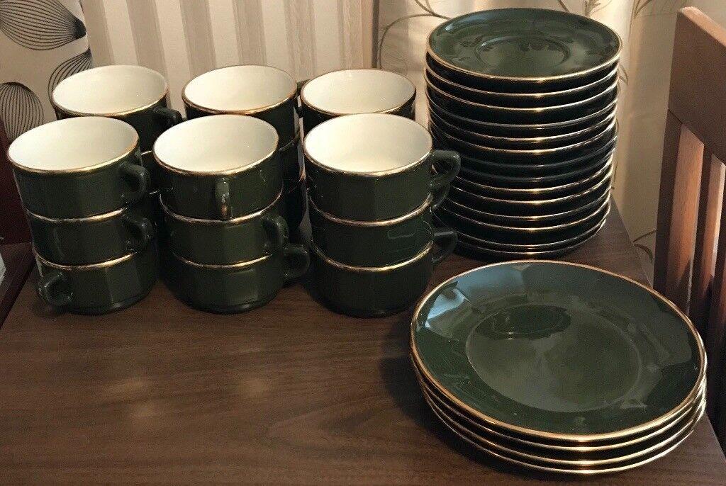Coffee set / tea set Apilco Green and gold coffee set   in Crieff ...