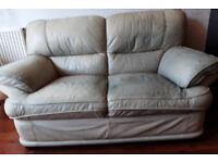 Two Seater Cream Leather Sofa FREE