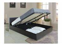 Ottoman Gaslift Storage 4ft6 Double Brown / BLACK Leather Bed Frame Bedroom Furnture