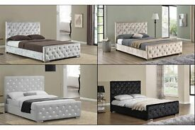 Can Deliver Today or Day Of Choice Crushed Velvet Designer Bed Frame Double Bed King Size Bed