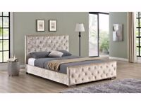 BRAND NEW DOUBLE OR KING CRUSHED VELVET CHESTERFIELD BED IN BLACK/SILVER/CREAM WITH MATTRESS RANGE