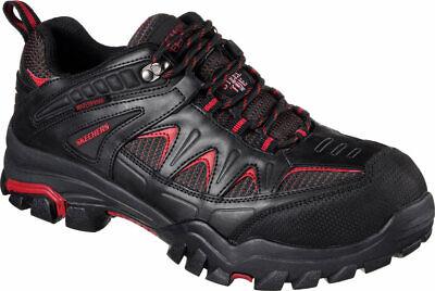 NEW Mens Skechers Work Delleker Black Red WATERPROOF LEATHER STEEL TOE BOOT  Red Waterproof Leather