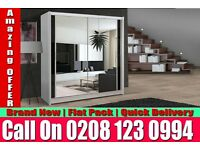 WHITE SLIDING 2 DOORS BERLIN FULL MIRROR CHEAP PRICE WARDROB Newark