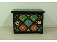 Beautiful wood and tiled Antique storage trunk