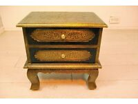 Beautiful fully hand stencilled antique bronze aluminium and wood bedside table unit