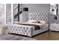 WE CAN DELIVER !! DOUBLE CRUSHED VELVET CHESTERFIELD BED WITH COMFORTABLE MATTRESS