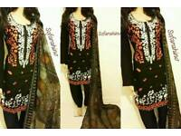 Pakistani indian Embroidered #shalwarkameez Shirt+Trouser+Scarf at wholesale discount price