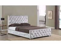 ❤►❤Same Day Free Delivery❤►❤ New Crushed Velvet Diamond Tufted Chesterfield Bed -Single Double King-