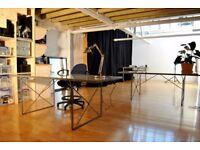 Desk space in a creative studio