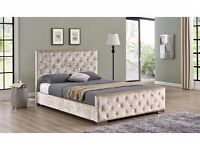 New Crushed Velvet Fabric Bed Frame With Different Types of Mattresses - Single double or King