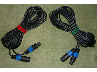 10m Professional Speaker Cables Male-to-Female SpeakOn x2 for PA DJ Audio Band