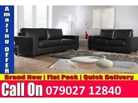 NEW 3+2 LEATHER SOFA BLACK OR BROWN FAST DELIVERY