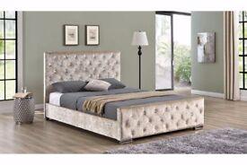 Silver Cream Black Diamante Crushed Velvet Bed Frame Double Fabric Upholstered 4ft6 5ft