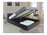 ***AVAILABLE WITH WIDE RANGE OF MATTRESS*** BRAND NEW LEATHER STORAGE DOUBLE BED FRAME - BLACK/BROWN