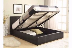 DOUBLE LEATHER STORAGE BED FRAME WITH OTTOMAN GAS LIFT UP WITH CHOICE OF MATTRESSES