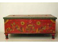 hand painted Retro vintage wooden Indian chest storage trunk