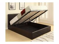 ★★ BRAND NEW ★★ DOUBLE LEATHER STORAGE OTTOMAN GAS LIFT UP BED FRAME ON SPECIAL KING OFFER SIZE