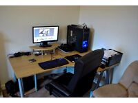 Ikea Galant Corner Desk with monitor stand