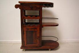 Beautiful solid wood wine rack with wheels