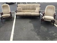Vintage Sofa & 2 Recliner Chairs