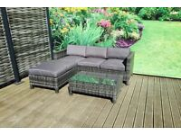 Homeflair Rattan Garden Furniture Suzie Brushed Grey corner sofa + Dining table + stool set £499