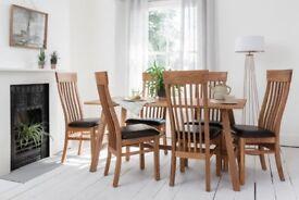 (NEW) Oak Wood Dining Set Table & 6 Chairs BNIB