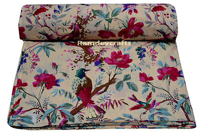 Indian 5 yard beige cotton bird hand block printed handmade natural craft fabric