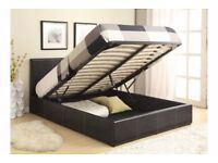 OFFER ! 50% OFF !! Double Ottoman BED Storage Frame Black Brown Leather Bed and Mattress