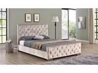 best price offer new chesterfield crush velvet bed with super orthopedic mattress + headboard