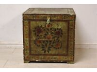 Beautiful antique solid wood and painted trunk