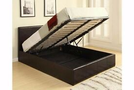 Double Storage Ottoman Gas Lift Up Bed Frame + Semi Orthoped Mattress Option