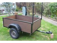 CAR TRAILER WITH ELECTRICS 5ft x 3ft LADDER RACK EXCELLENT TYRES NEW MUD GAURDS