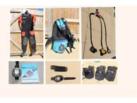 Diving Gear - Regulator, Dry Suit, BCD, Computer, Compass, Torch, Fins