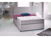 "Suede Divan Bed & 10"" Deep Mattress With Free Headboard FREE NATIONWIDE DELIVERY"