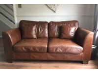 Harvey's real leather brown 4 seater and 3 seater
