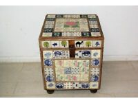 Beautiful solid teak wood and tiled antique storage trunk