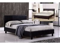 BRAND NEW 4FT SMALL DOUBLE, 4FT6 DOUBLE & 5FT KING SIZE LEATHER BED BLACK / BROWN