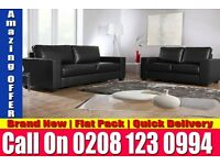 NEW QUALITY BONDED LEATHER BOX SOFA SET 3+2 Black Brown Kanab