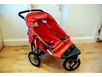 Out n About Nipper Double Pushchair with rain cover and wheel weights