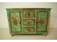 Beautiful antique vintage solid wood hand tapped brass bedside table unit
