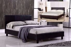 ❋❋ BRAND NEW IN BOX ❋❋ FAUX LEATHER DOUBLE BED FRAME + 9 INCH DEEP QUILT MATTRESS