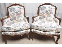 Pair French Upholstered Arm Chairs circa 1880