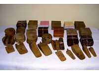 JOB LOT CRAFT FAIR HAND CRAFTED 122 ANTIQUE HARDWOOD SEASONED ITEMS COASTERS & DOORSTOPS WEDGES