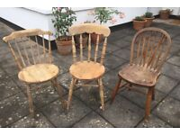 Three Traditional Old Fashioned Wooden Chairs.