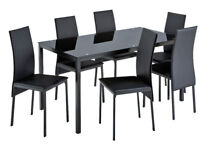 Hygena Lido Glass Dining Table and 6 Chairs - Black