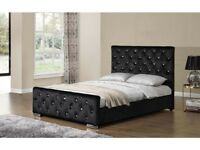 **SUPERB ITALIAN DESIGN** Brand New Double Crushed Velvet Chesterfield Bed Frame *Black/Cream/Silver